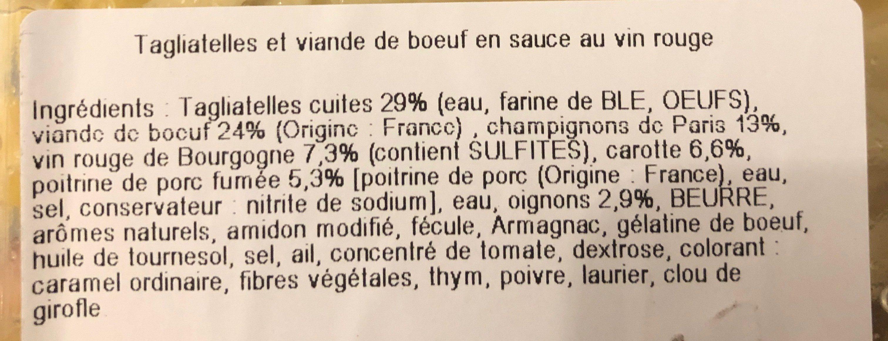 Boeuf Bourguignon Tagliatelles - Ingrediënten - fr