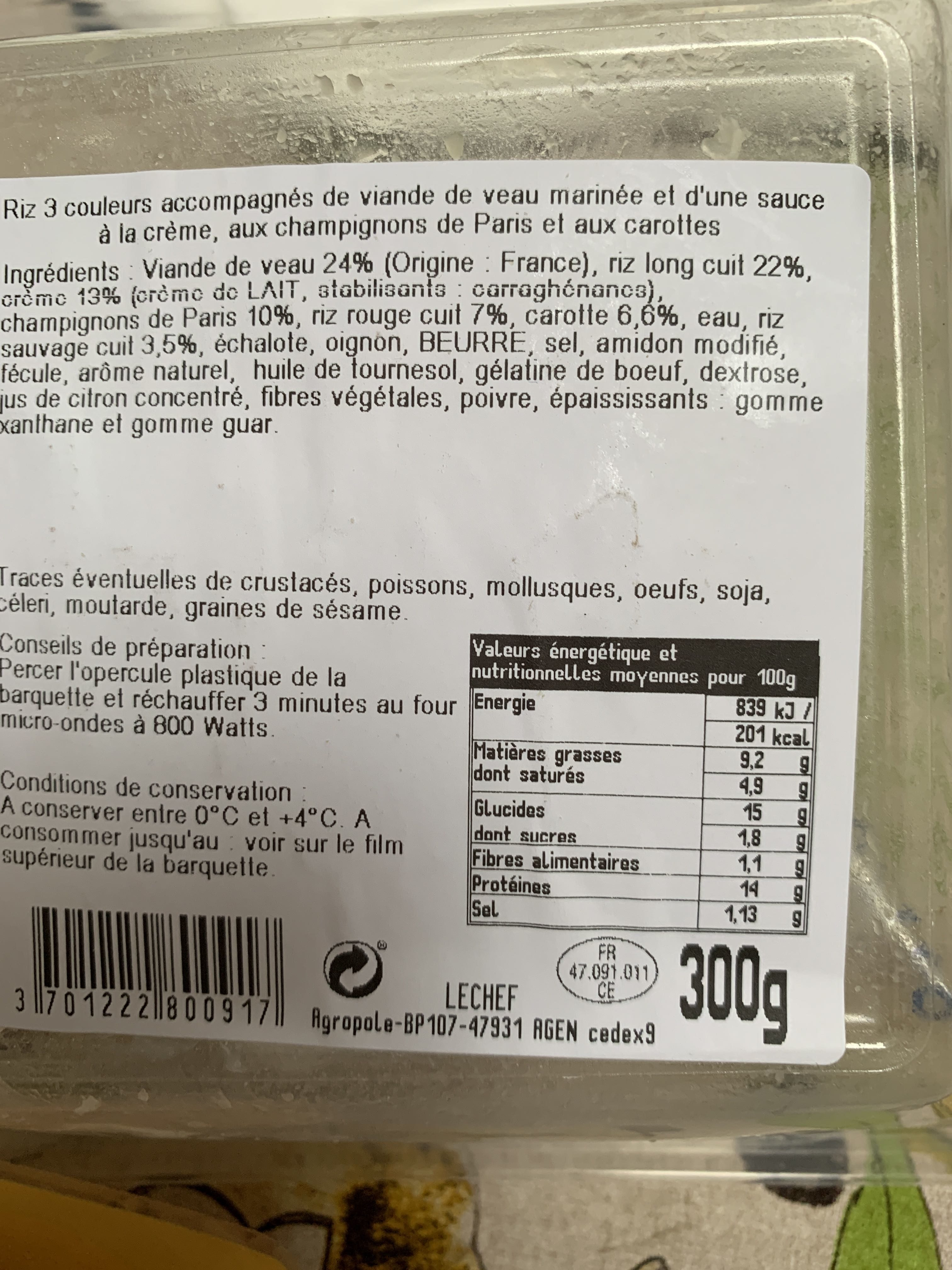 Blanquette de veau riz 3 couleurs - Product - fr