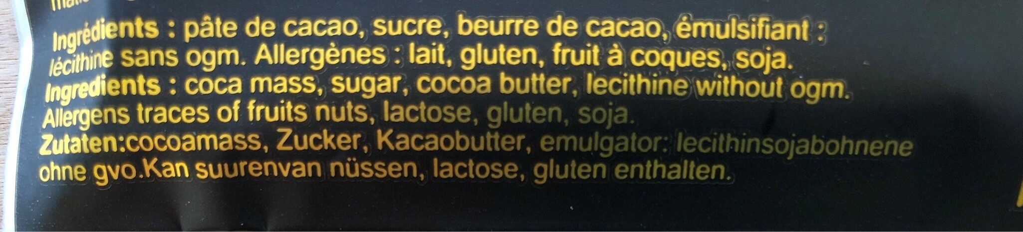 Chocolat 75% - Ingrédients