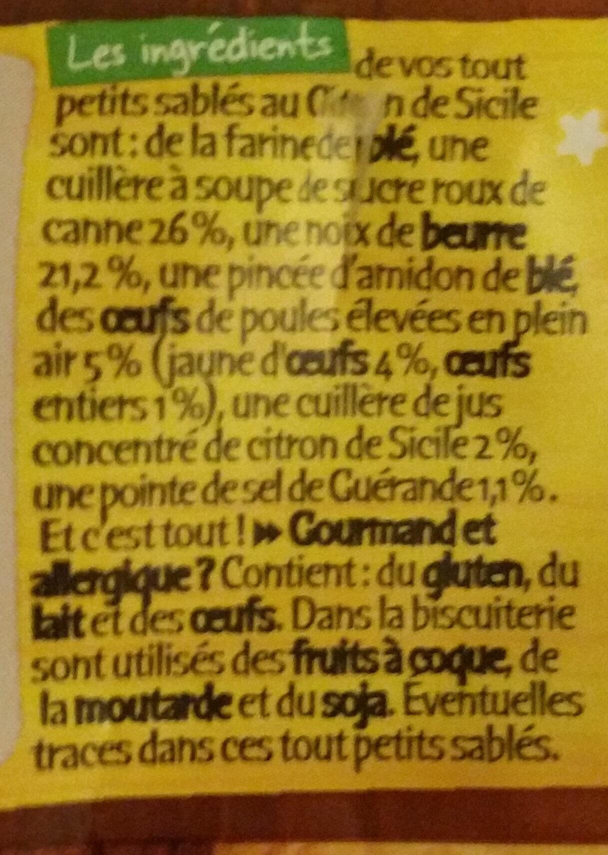 Tout petits sablés - Ingrediënten