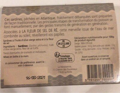 Sardines fleur de sel de Ré - Nutrition facts - fr