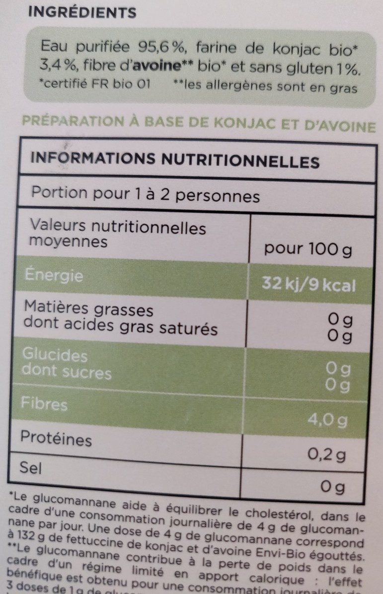 Fettuccine de konjac et fibre d'avoine - ENVI-BIO - Ingredienti - fr