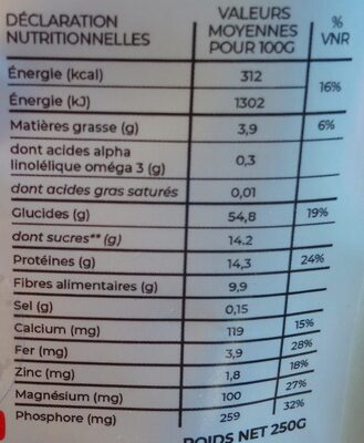 Super Farine Carotte-Courge - Nutrition facts