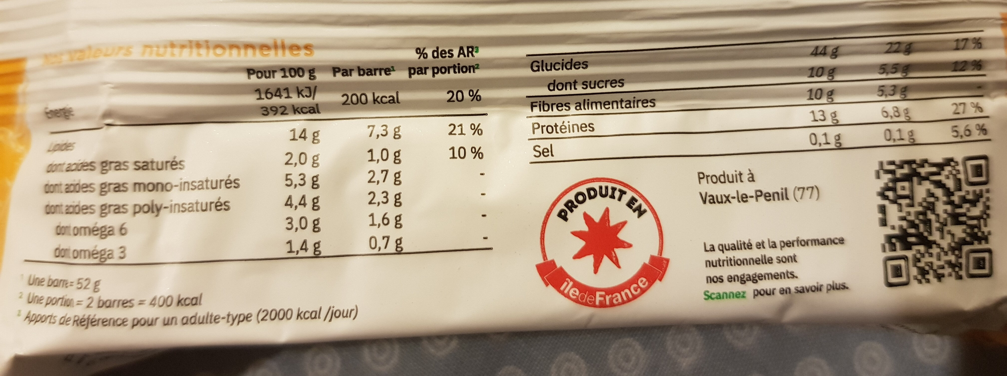 Barre daily carotte - Nutrition facts - fr