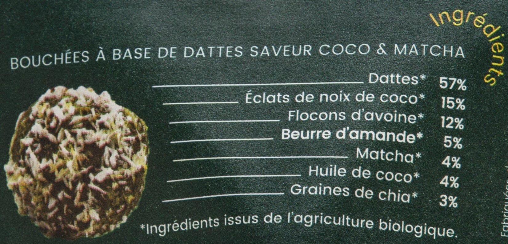 Boulettes d'énergie Coco Matcha BIO - Ingredienti - fr