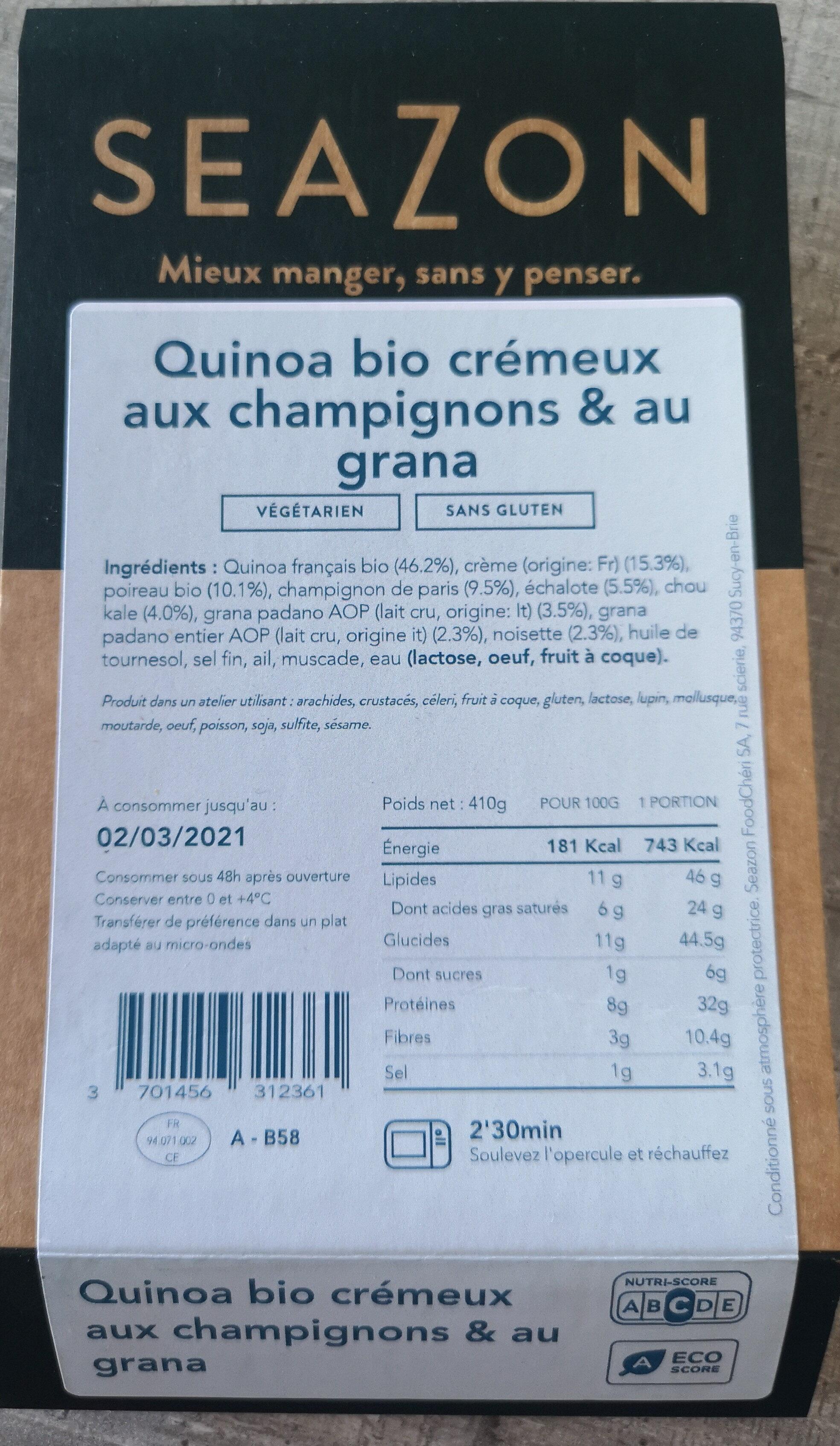 Quinoa bio crémeux aux champignons & au grana - Prodotto - fr