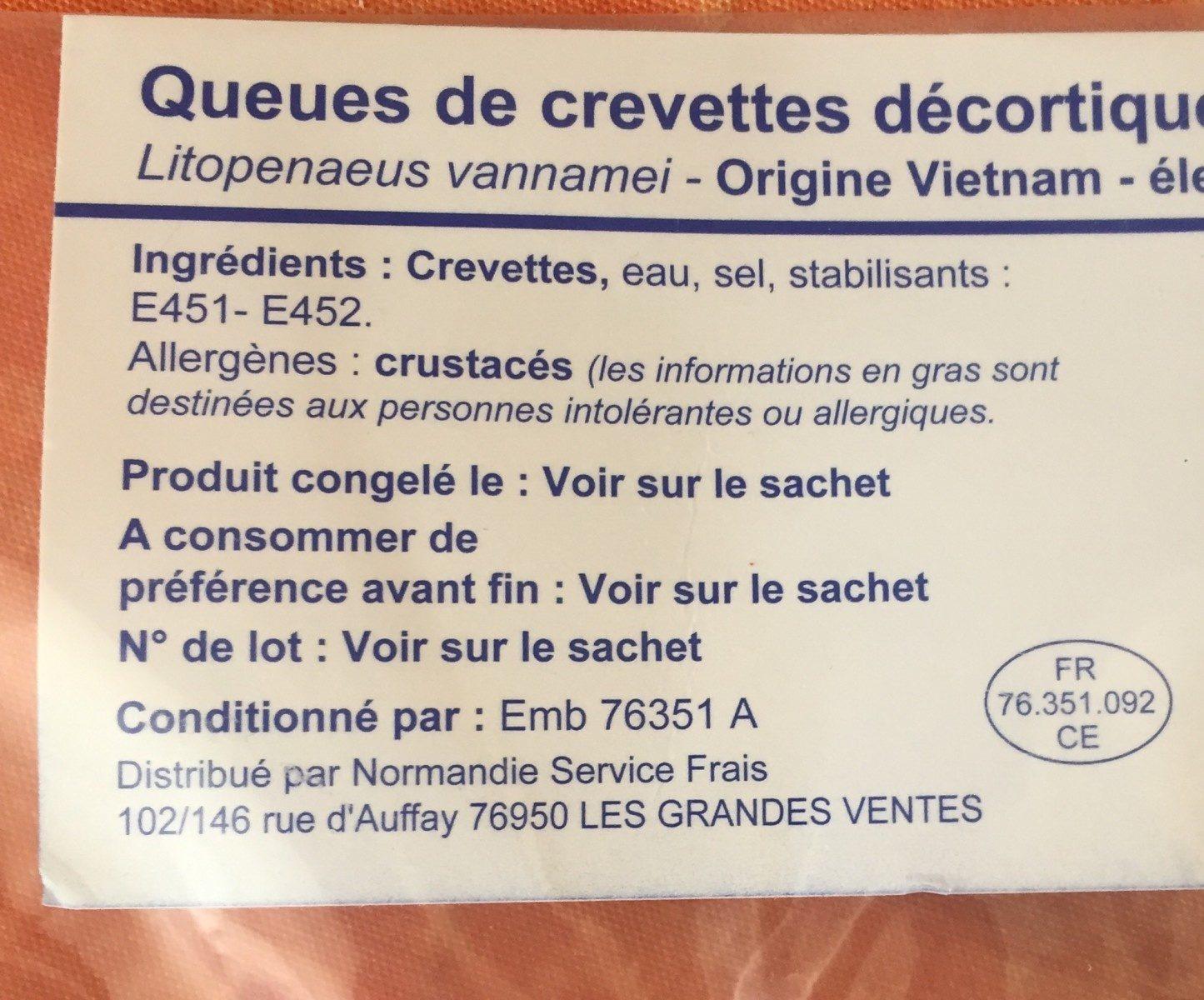 Queues de crevettes decortiquées déveinées cuite - Ingrediënten - fr