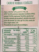 Caldo de verduras ecologico - Información nutricional
