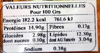 2 rosaces au saumon et beurre aillé - Voedingswaarden - fr
