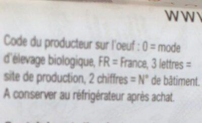 Oeufs Biologiques - Informations nutritionnelles - fr