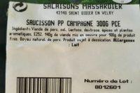Saucisson - Ingrédients