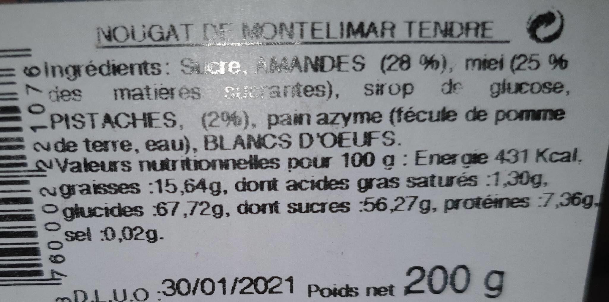 Nougat de montelimar - Informação nutricional - fr