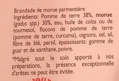Brandade de morue parmentière - Ingrédients - fr