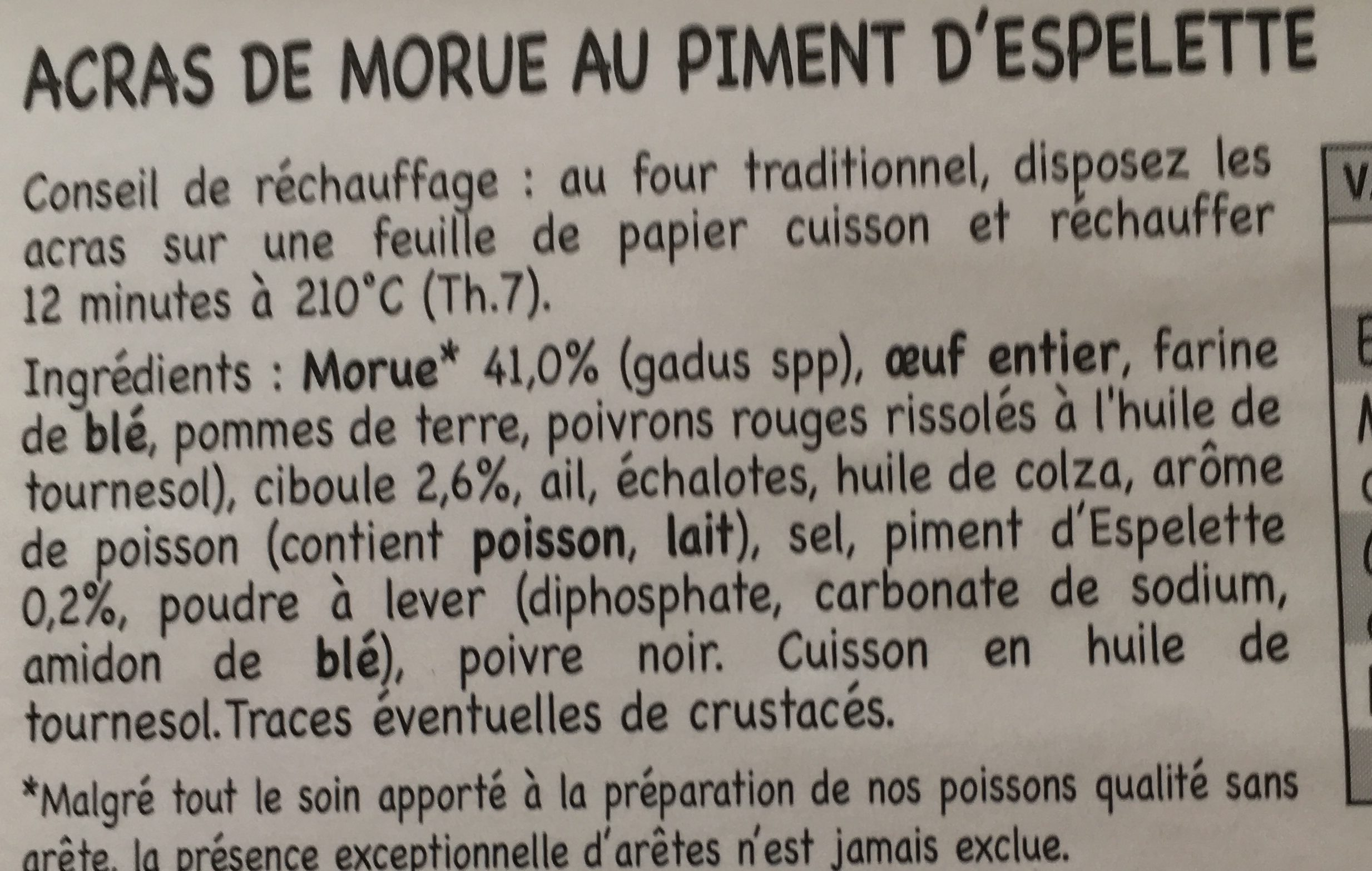 Acras de Morue au Piment d'Espelette - Ingredients