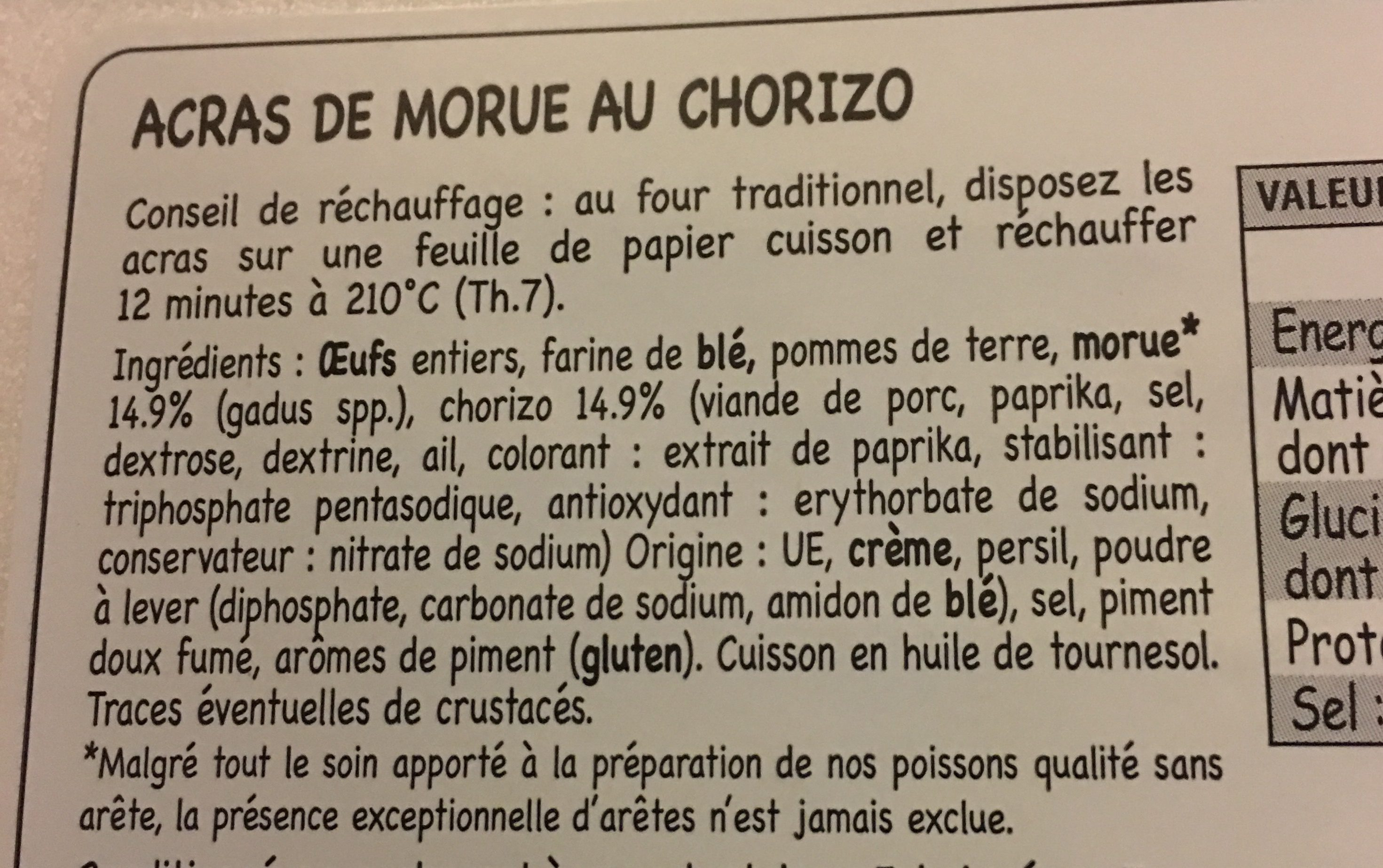 Acras de morue au chorizo - Ingrédients - fr
