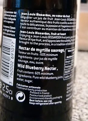 Myrtille sauvage nectar - Ingredients - fr