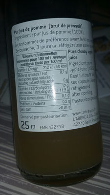 Pomme brute du pressoir - Nutrition facts