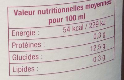 Nectar pêche de vigne - Valori nutrizionali - fr