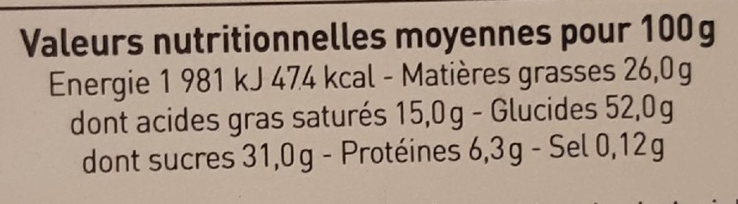 Choco noisette - Nutrition facts