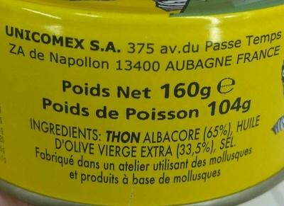 Tranche de Thon à l'Huile d'Olive - Ingrédients