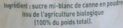 Sucre Blond de Canne Bio - Ingredients