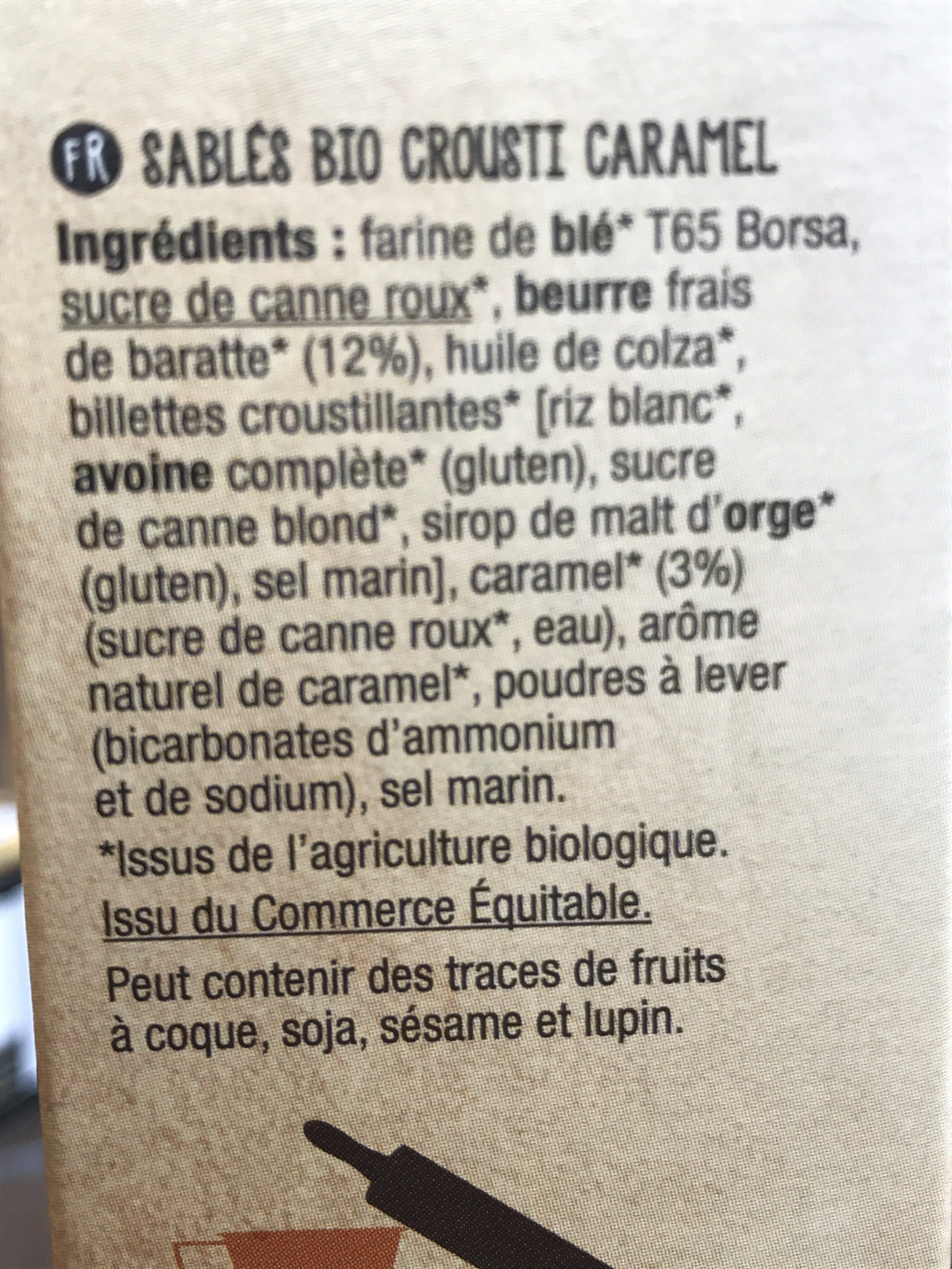 Sables Bio Crousti Caramel - Ingrediënten