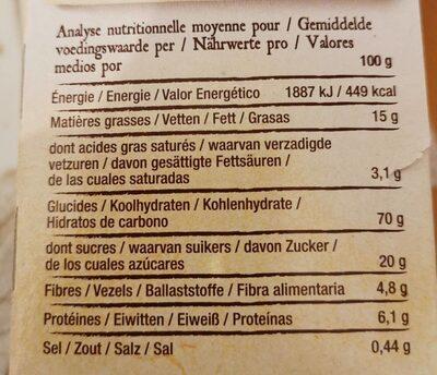 Les sablés authentiques châtaigne - Voedingswaarden - fr