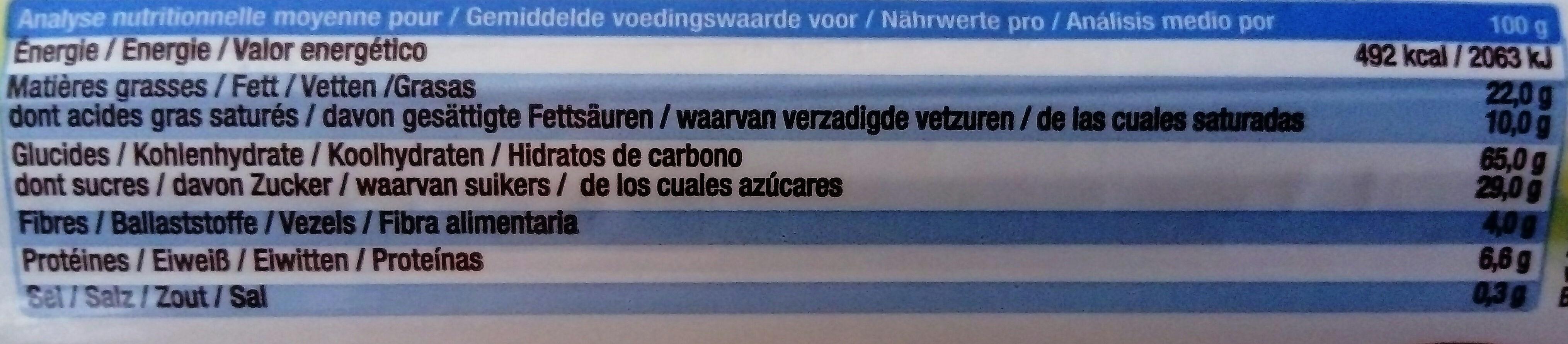 Biscuit épeautre Cacao Vanille - Informations nutritionnelles - fr