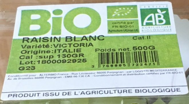 Raisin blanc - Ingredients