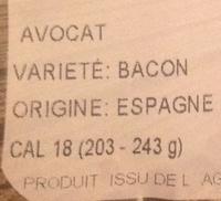 Avocat - Ingredients - fr