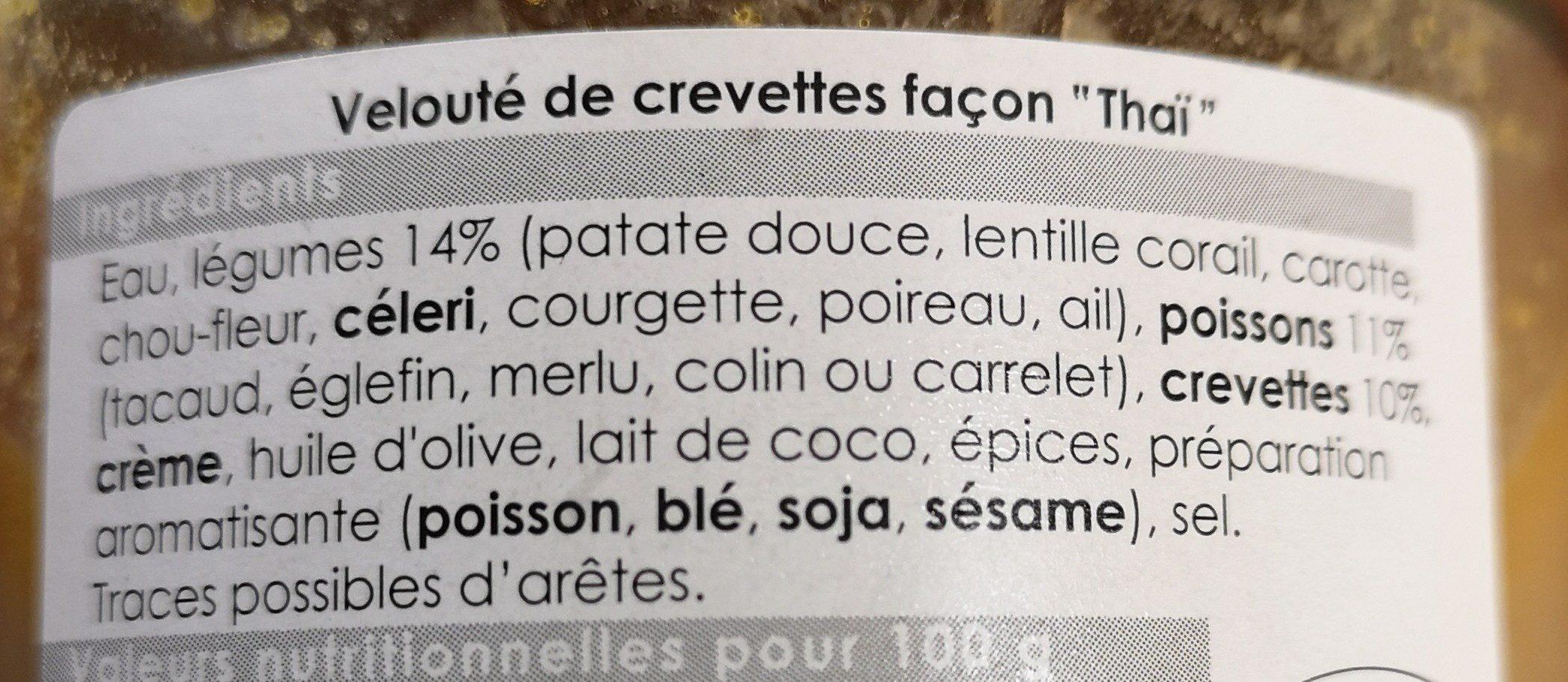 Velouté de crevette Thaï - Ingrediënten - fr
