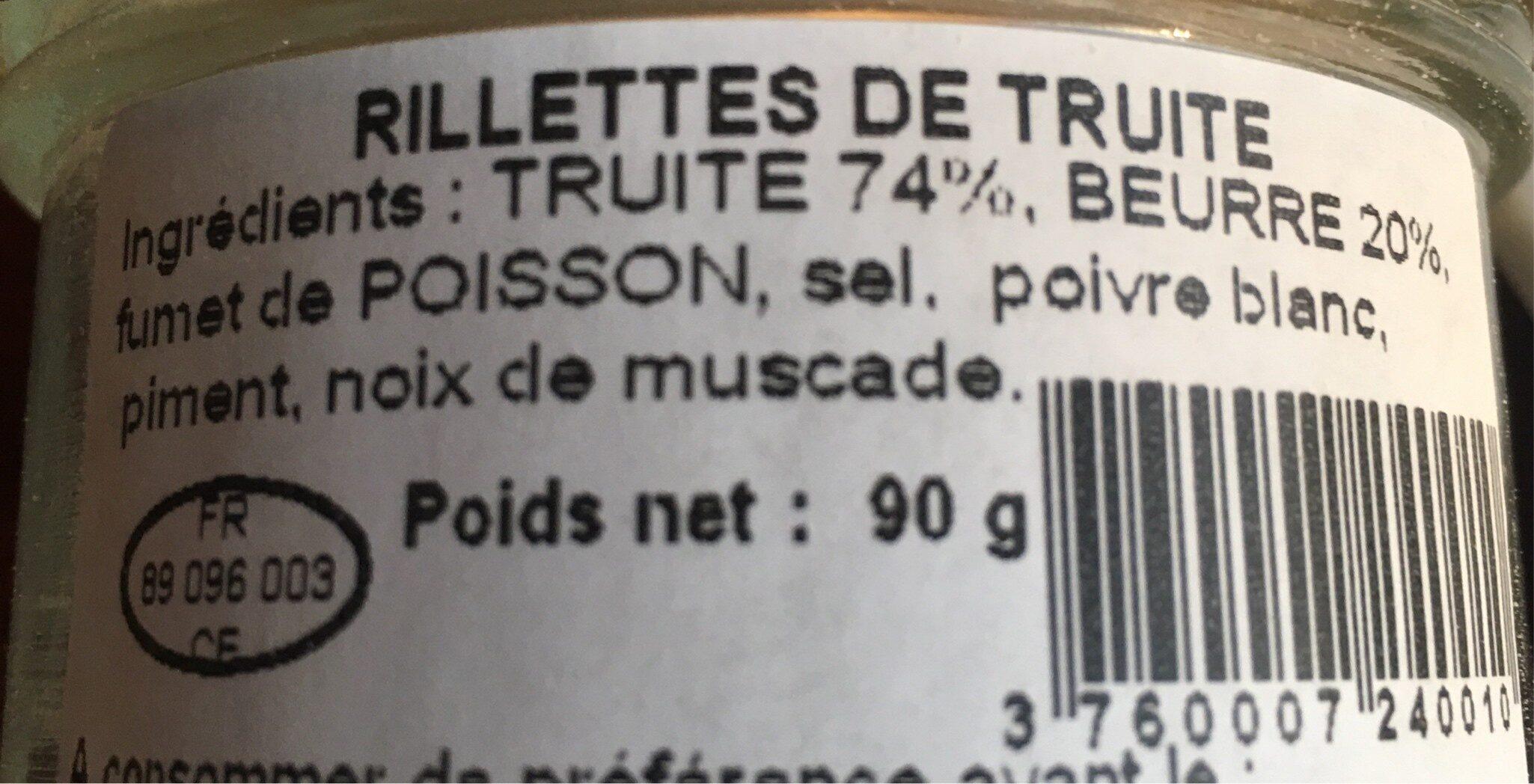 Rillette de truite - Ingrediënten - fr