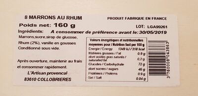 Marrons au rhum - Ingredients - fr