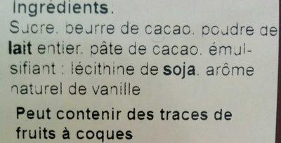 Chocolat Lait Côte d'Ivoire - Ingrédients - fr