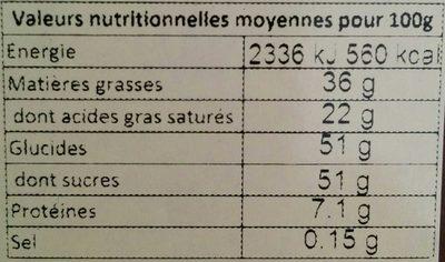 Chocolat Lait Côte d'Ivoire - Informations nutritionnelles - fr