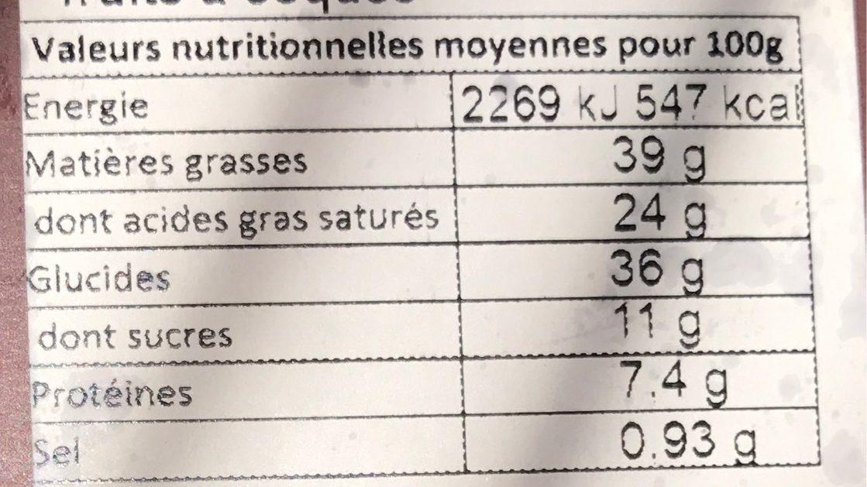 Noir Marbré Lait caramel Fleur de Sel - Voedingswaarden - fr