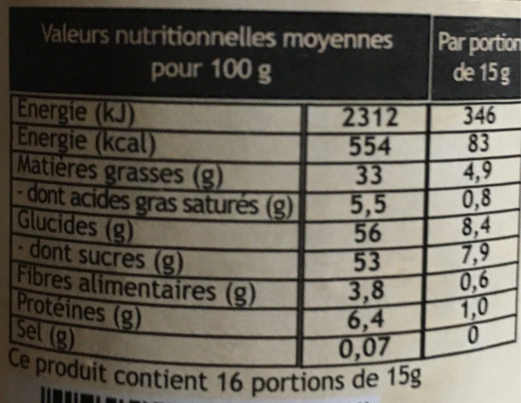 Chocolat a tartiner - Valori nutrizionali - fr