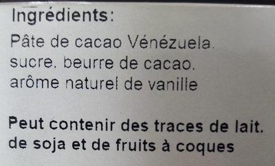 Chocolat noir Venezuela 71 % - Ingredients