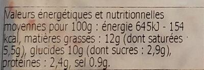 Risotto crémeux légumes et champignons - Informations nutritionnelles - fr