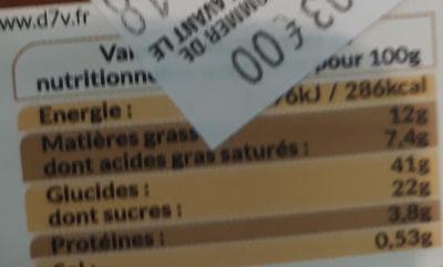 Mini tropezienne - Informations nutritionnelles