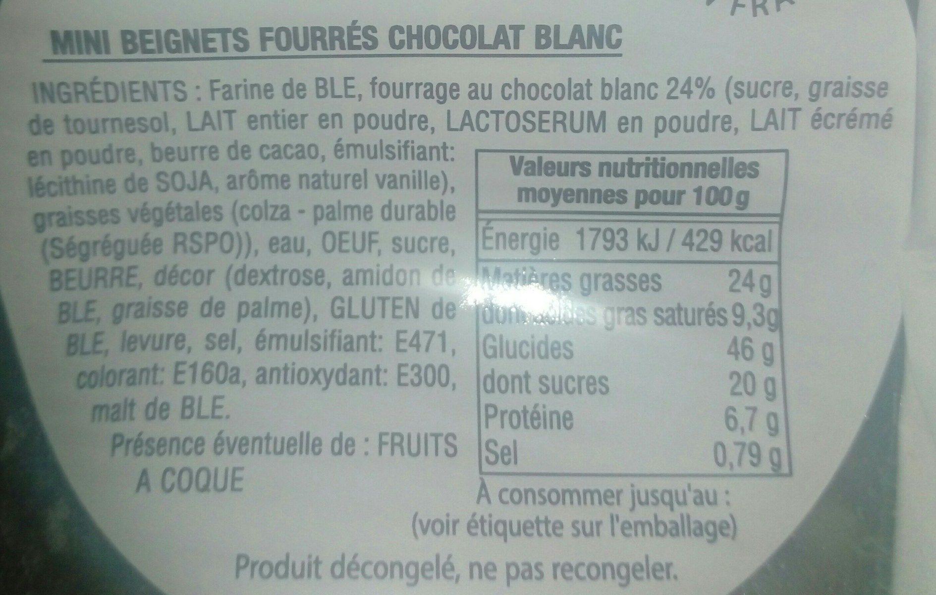 Mini beignet au chocolat blanc - Ingrédients - fr