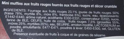 Mini muffins coeur fondant aux fruits rouges - Ingrédients - fr
