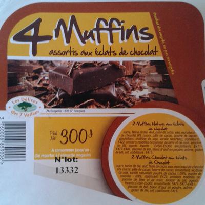 4 Muffins - assortis aux éclats de chocolat - Product - fr