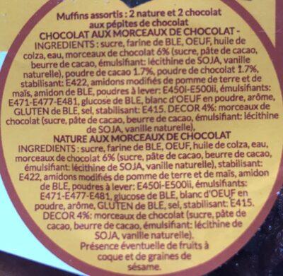 4 Muffins - assortis aux éclats de chocolat - Ingredients - fr