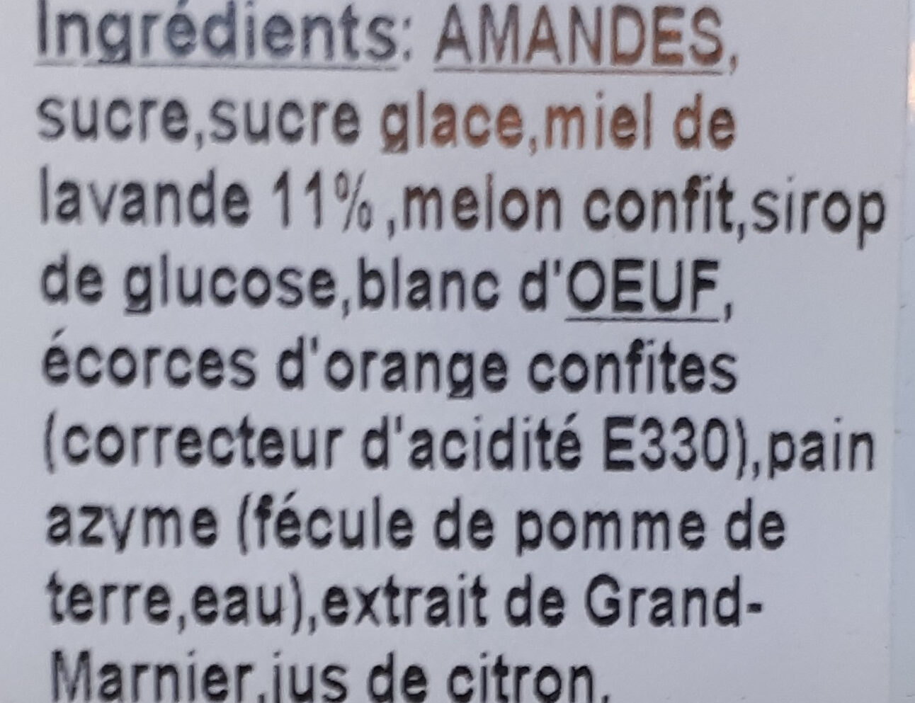 Calissons - Ingredients - fr