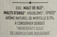Bières Myrtille - Ingrediënten - fr
