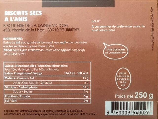 Navettes à l'anis - Nutrition facts - fr