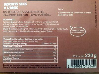 Croustillants anisés - Ingredienti - fr