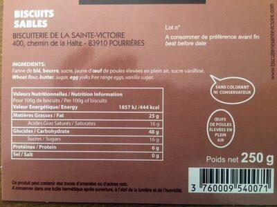 Sablé de Saint Ser - Ingredienti - fr