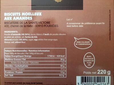 Macarons moelleux aux amandes - Nutrition facts - fr